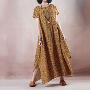 Loose-Fitting Flora Maxi Dress Elegant Slits Wrap Dress