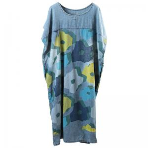 Casual Style Plus Size Denim Dress Printing Shift Dress