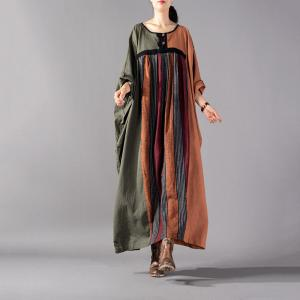 Multi-colored Large Size Linen Caftan Bat Sleeve Designer Dress
