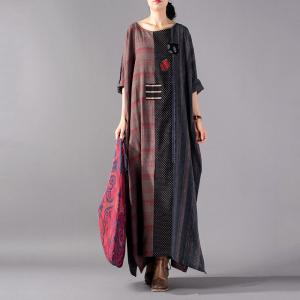 Original Design Checkered Abaya Large Embroidered Fall Dress