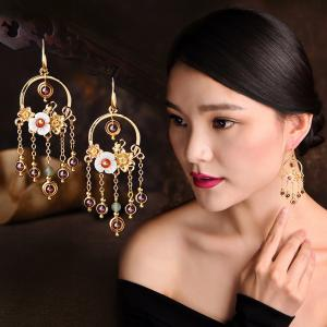 Chinese Vintage Fringed Earrings Flowers Crystal Earrings