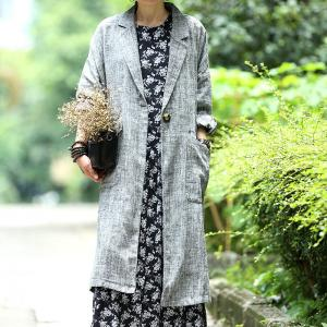 Korean Style Plus Size Blazers Autumn Linen Womans Long Blazers