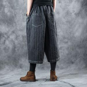 Street Style Vertical Striped Cropped Pants Womans Wide Leg Jeans