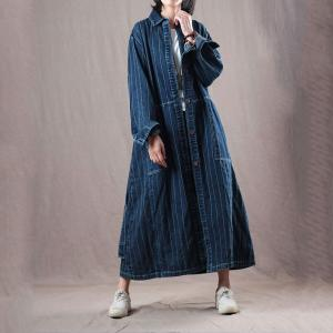 0a33fa9255 High-Quality Large Striped Shirt Dress Korean Belted Designer Outerwear
