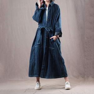 84ae1055a7 High-Quality Large Striped Shirt Dress Korean Belted Designer Outerwear -  Morimiss.com
