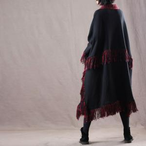 Vintage Red Fringed Cape Coat Plus Size Designer Womans Poncho