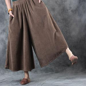 Casual Style Womans Wide Leg Trousers Coffee Plus Size Corduroy Pants