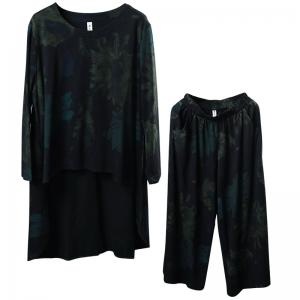 Green Flowers Asymmetrical Oversized T-shirt with Cotton Wide Leg Pants