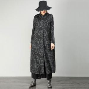 Over50 Style Flowers Printing Black Outerwear Loose Fall Coat