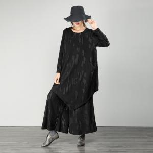 Loose-Fitting Black Cotton Sets Casual Womans Two-Piece Sets
