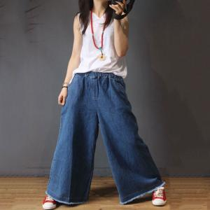 Street Style Raw Hem Wide Leg Jeans Blue Baggy Jeans for Woman