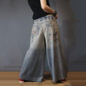 Vintage Printed Distressed Jeans Fashion Wide Leg Jeans