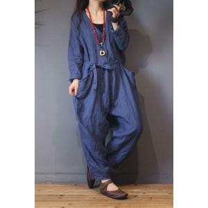 Loose-Fitting Pinstriped Overalls Cotton Linen Blue Wrap Dungarees