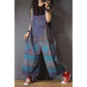 Folk Style Printed Cotton Overalls Loose Wide Leg Jumpsuits