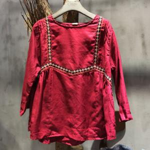 Chinese Style Embroidered T-shirt Loose Linen Tops