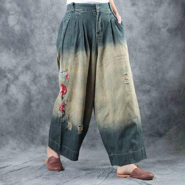 Blue Gradient Rose Embroidered Jeans Womans Wide Leg Ripped Jeans