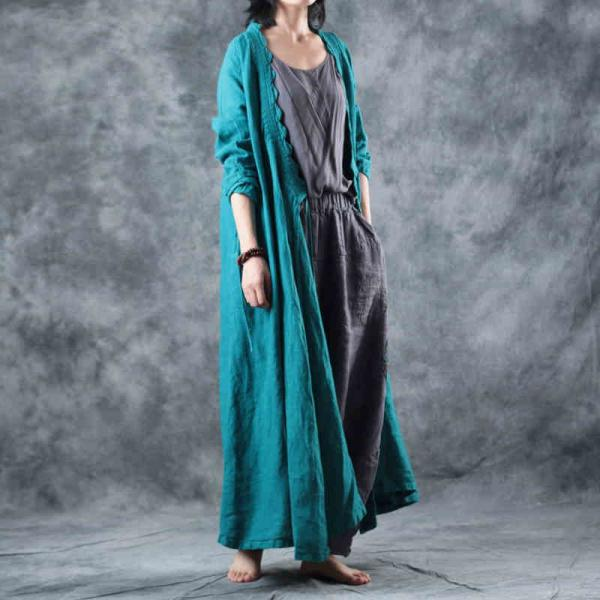 Chinese Vintage Long Linen Cardigan Plain Loose Wrap Dress