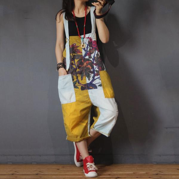 Contrast Colors Printed Jumpsuits Baggy Cotton Overalls for Woman