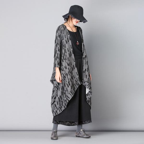 Asymmetrical Plus Size Duster Coat Striped Gray Cardigan