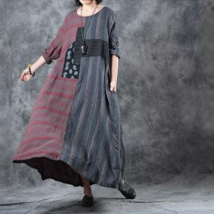 Loose-Fitting Patchwork Linen Islamic Dress A-Line Maxi Kaftan