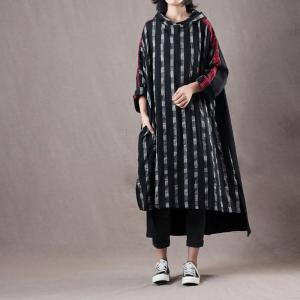 Korean Fashion Gingham Hoodie Dress Linen Splicing Long Oversized Hoodie