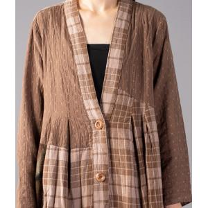 Cotton Linen Checkered Cardigan Elegant Loose Long Outerwear
