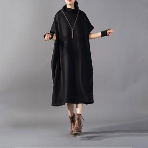 Bat Sleeve Knitted Heaps Collar Dress Plus Size Knee-Length Dress
