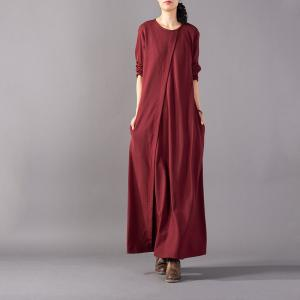 Slim-Fitting Lines Embroidered Maxi Dress Plain Casual Cotton Dress
