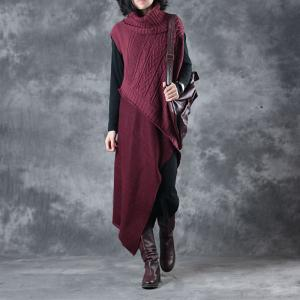Turtle Neck Asymmetrical Knitted Sweater Dress with A Cotton Long Sleeve Dress