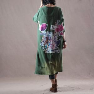 Green Gradient V-Neck Cotton Outerwear Oversized Printed Cardigan