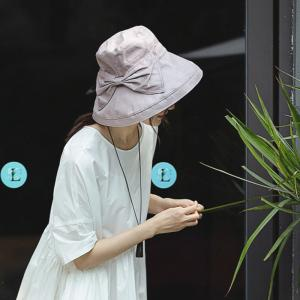 Solid Color Bowknot Bucket Hat Linen Korean Sunhat for Woman