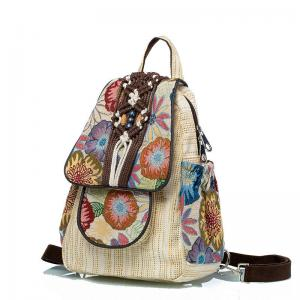 Folk Style Cotton Linen Backpack Printed Knitting Ethnic Backpack