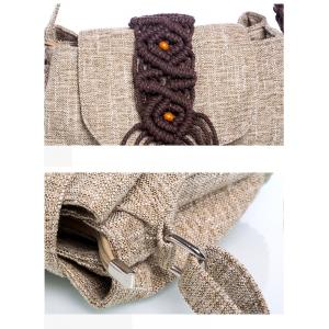 Colorful Knitted Straps Messenger Ethnic Cotton Linen Shoulder Bag