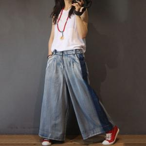 Blue Contrast Womans Denim Pants Korean Wide Leg Jeans