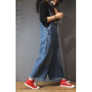 Korean Fashion Patched Pockets Baggy Jumpsuits Wide Leg Jean Overalls