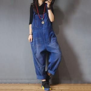 Front Pockets Ripped Corduroy Jumpsuits Womans Korean Dungarees