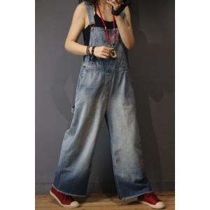 Preppy Style Wide Leg Jumpsuits Cotton Jeans Overalls