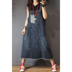 Patched Pockets A-Line Denim Dress Korean Ripped Overalls Dress