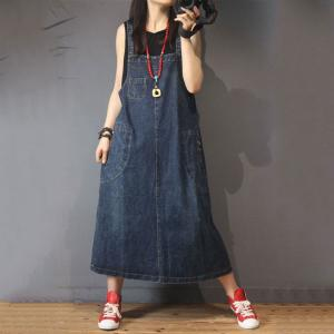 Simple Design A-Line Jumper Dress Vintage Baggy Denim Dress