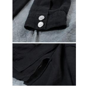 Flap Pockets Short Jacket Linen Korean Womens Casual Blazers