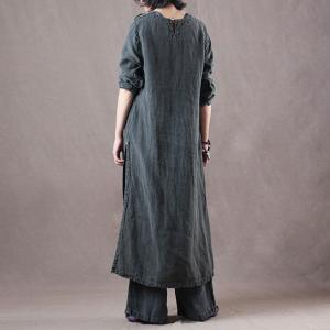 Handmade Embroidered Long Linen Frock with Straight-Leg Pants