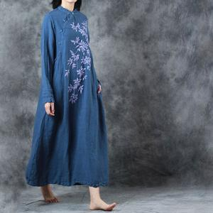 Beautiful Embroidered Chinese Dress Vintage Flax Maxi Dress