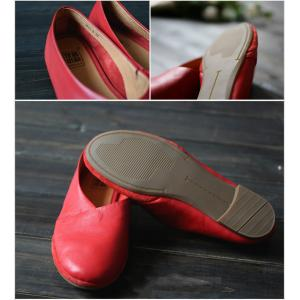 Soft Leather Cowhide Flats Handmade Plain Ballet Flats