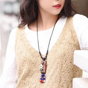 Folk Style Agate Long Necklace Vintage Sweater Necklace