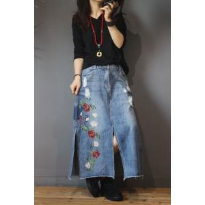 Rose Embroidered Denim Maxi Skirt Ripped Slits Jeans Skirt