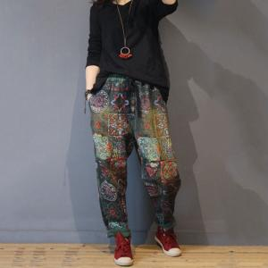 Folk Style Vintage Printed Trousers Loose Cotton Wrap Pencil Pants