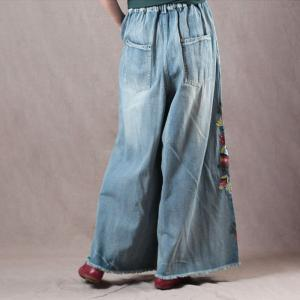 Over40 Style Vintage Wide Leg Jeans Floral Embroidered Jeans