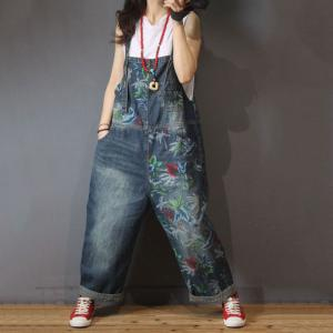 Street Style Printed Wide Leg Jumpsuits Baggy Jeans Overalls