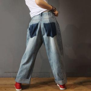 Color Contrast Pockets Boyfriend Jeans Baggy Straight Leg Jeans