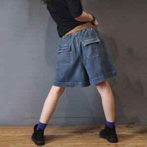 Korean Fashion Wide Leg Shorts Plus Size Short Jeans for Woman